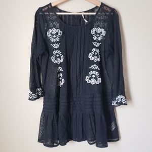 Free People Jocelyn Embroidered Black Mesh Top S